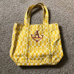 Handbags - 100% Cotton canvas A initial tote, yellow and pink